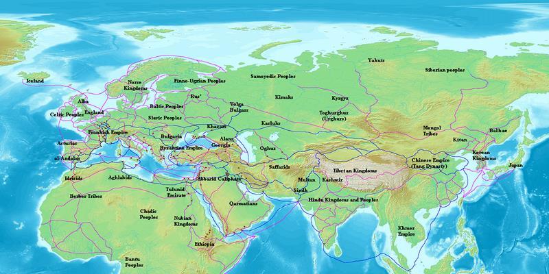 Карта Евразии с указанием торговых маршрутов раданитов (отмечены синим цветом). Другие торговые маршруты того периода выделены фиолетовым.